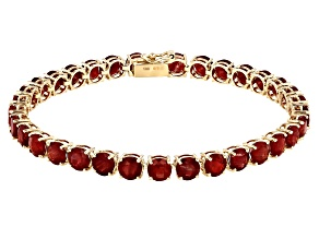 Red Labradorite 10k Yellow Gold Bracelet 13.18ctw