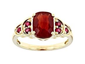 Red Labradorite 10k Yellow Gold Ring 1.81ctw