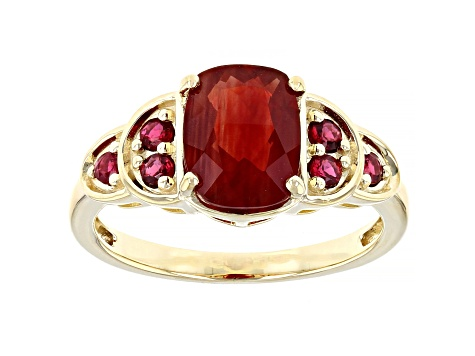 Red Labradorite 10k Yellow Gold Ring 1.81ctw
