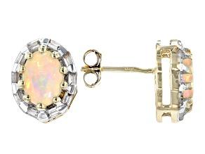 Oval Ethiopian Opal With Baguette White Zircon 10k Yellow Gold Earrings  2.635ctw