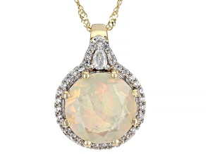 Multicolor Ethiopian Opal 10k Yellow Gold Pendant With Chain 2.13ctw