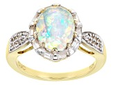 Multicolor Ethiopian Opal 10k Yellow Gold Ring 2.14ctw