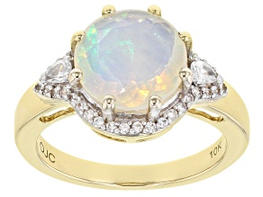 Multicolor Ethiopian Opal 10k Yellow Gold Ring 2.12ctw