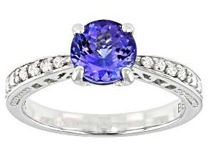Blue Tanzanite Rhodium Over 10k White Gold Ring 1.22ctw