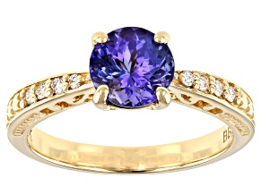 Blue Tanzanite 10k Yellow Gold Ring 1.22ctw