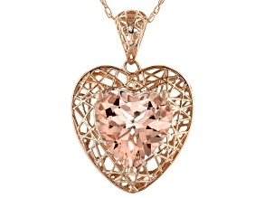 Pink Cor De Rosa™ Morganite 10k Rose Gold Heart Pendant With Chain 1.31ctw