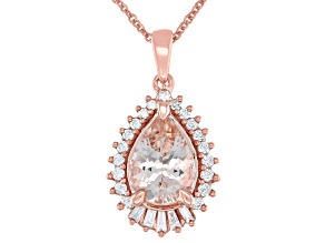 Pear Cor De Rosa Morganite And Diamond 14k Rose Gold Pendant With Chain 1.531ctw