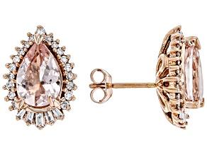 Pink Cor De Rosa Morganite 14k Rose Gold Stud Earrings 2.74ctw