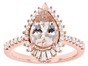 Pear Cor De Rosa Morganite And Diamond 14k Rose Gold Ring 2.00ctw