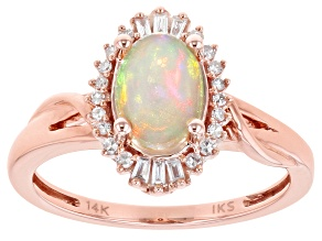 8x6mm Oval Opal With Diamond 14k Rose Gold Ring 0.0185ctw