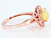 8x6mm Oval Opal With Diamond 14k Rose Gold Ring 0.13ctw