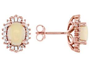 7x5mm Oval Opal With Diamond 14k Rose Gold Stud Earrings 0.26ctw