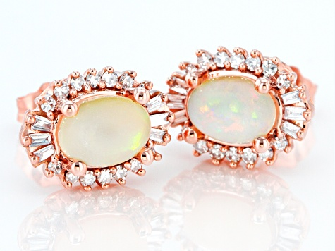 7x5mm Oval Opal With Diamond 14k Rose Gold Stud Earrings 0.26ctw