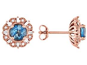 London Blue Topaz With Diamond 14k Rose Gold Stud Earrings