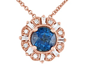 London Blue Topaz With Diamond 14k Rose Gold Pendant With Chain