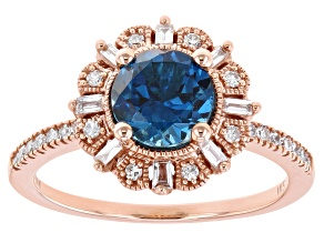 London Blue Topaz With Diamond 14k Rose Gold Ring 1.64ctw