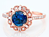 London Blue Topaz With Diamond 14k Rose Gold Ring 1.63ctw