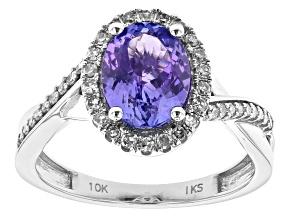 Blue Tanzanite Rhodium Over 10k White Gold Ring 1.99ctw