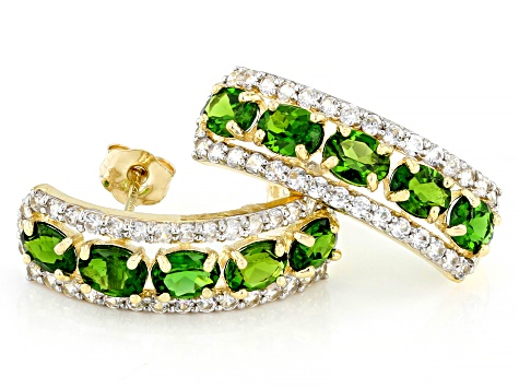 Green Chrome Diopside 10k Yellow Gold Earrings 2.58ctw
