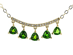 Trillion Chrome Diopside with Round White Zircon 10k Yellow Gold Necklace 1.23ctw
