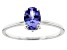 Blue Tanzanite Rhodium Over 10k White gold Ring 0.75ctw