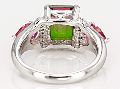 Multicolor watermelon quartz triplet rhodium over silver ring 3.38ctw
