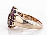 Raspberry color rhodolite 18k rose gold over silver ring 2.53ctw