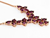 Raspberry Color Rhodolite 18k Rose Gold Over Sterling Silver Necklace 6.74ctw