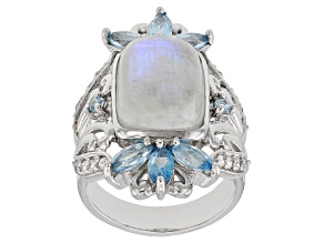 White Rainbow Moonstone Rhodium Over Silver Ring 1.94ctw