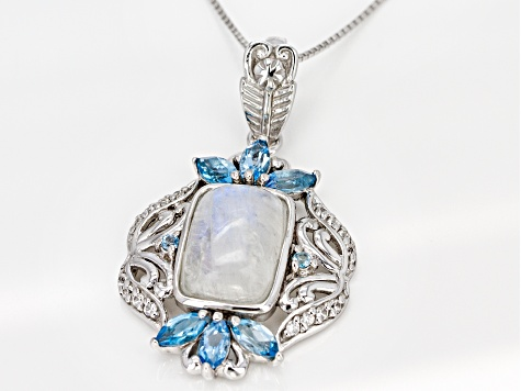 White Rainbow Moonstone Rhodium Over Silver Enhancer with Chain 1.94ctw