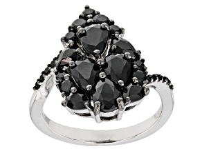 Black spinel rhodium over silver ring 2.85ctw