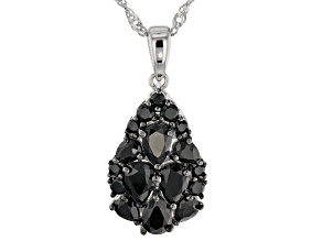 Black spinel rhodium over silver pendant with chain 2.73ctw