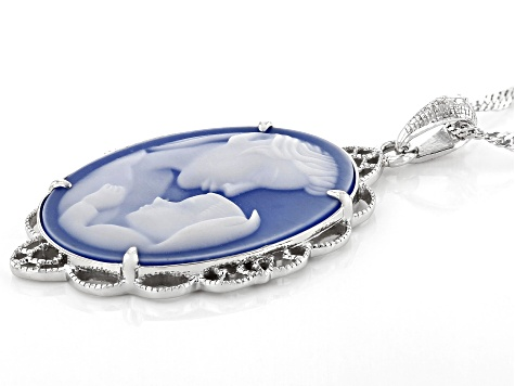 Blue agate mother and child cameo rhodium over silver pendant with chain