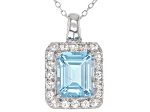 Sky Blue Topaz rhodium over silver pendant with chain 4.18ctw