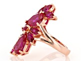 Red Lab Created Ruby 18k Rose Gold Over Silver Ring 7.29ctw