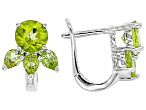 Green peridot rhodium over silver earrings 2.62ctw