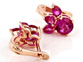 Pink lab created sapphire, 18k rose gold over silver earrings 2.54ctw