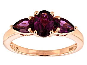 Raspberry color rhodolite 18k rose gold over silver 3-stone ring 1.67ctw