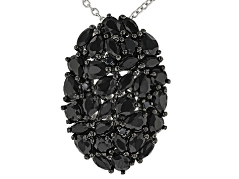 Black spinel rhodium over sterling silver pendant with chain 2.79ctw