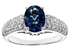 London blue topaz rhodium over silver ring 2.83ctw