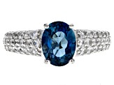 London blue topaz rhodium over silver ring 2.83ctw