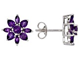 Purple amethyst rhodium over silver earrings 2.06ctw