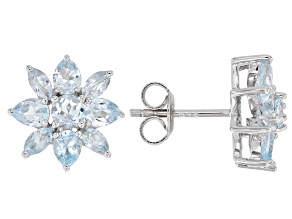 Blue topaz rhodium over silver earrings 2.23ctw