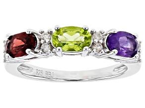 Multi-gem rhodium over silver 3-stone band ring 1.42ctw