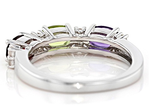 Multi-gem rhodium over silver 3-stone band ring 1.42ctw