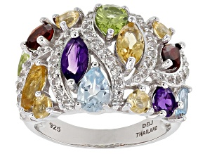 Multi-color gemstone rhodium over silver ring 4.19ctw