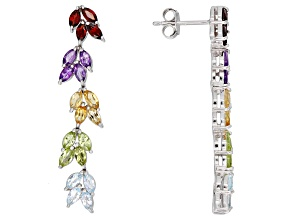 Multi-color gemstone rhodium over silver earrings 2.92ctw
