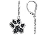 Black spinel rhodium over silver paw-print earrings 2.42ctw