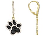 Black spinel 18k gold over silver paw-print earrings 2.42ctw