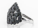 Black spinel rhodium over silver ring 1.55ctw